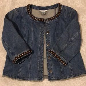 Nine West 3/4 sleeve beaded trim denim jacket